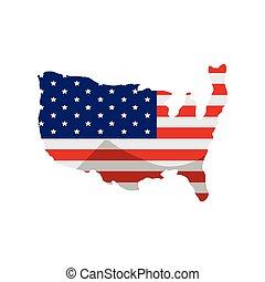 americano, mappa, bandiera