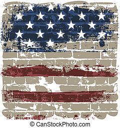 americano, mattone, bandiera, contro, wall.