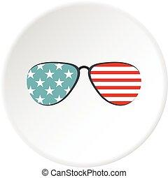 americano, occhiali, cerchio, icona