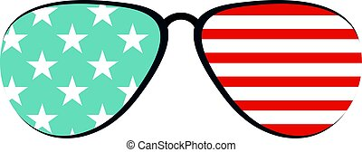 americano, occhiali, isolato, icona
