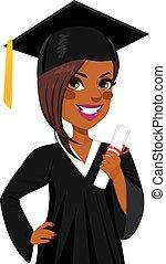 americano, ragazza, graduazione, africano