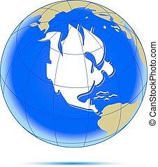 americano, sailfish., continente, come