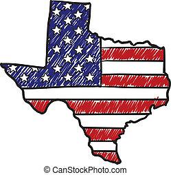americano, schizzo, texas