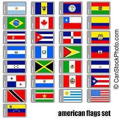 americano, set, bandiere