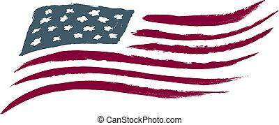 americano, spazzolato, bandiera, stati uniti