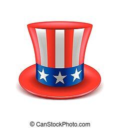 americano, vettore, cappello, isolato, bianco