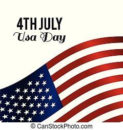 americano, vettore, disegno, giorno indipendenza, scheda