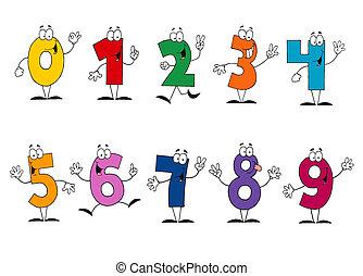 amichevole, cartone animato, numeri, set