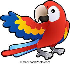 amichevole, macao, pappagallo, illustrazione, carino