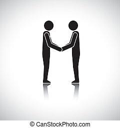 amici, augurio, mano, nero, uomini affari, scuotere, funzionari, bianco, corporativo, o