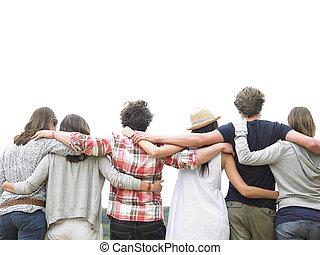 amici, gruppo, retro, abbracciare, vista