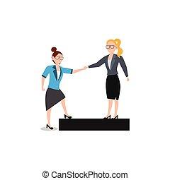 amico, affari, help., white., isolato, carattere, dare, donna, appartamento, illustrazione, cartone animato, disegno, spinta, concetto, ciascuno, altro.