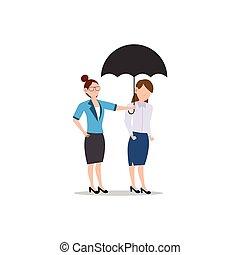 amico, affari, white., isolato, carattere, altro., donna, appartamento, illustrazione, cartone animato, disegno, porzione, umbrella., concetto, ciascuno, dare