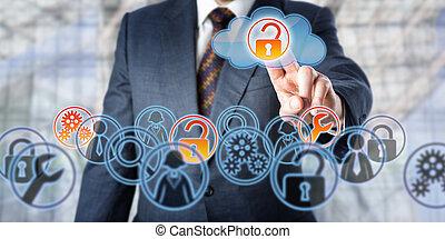 amministrato, servizi, accesso, sbloccando, uomo affari