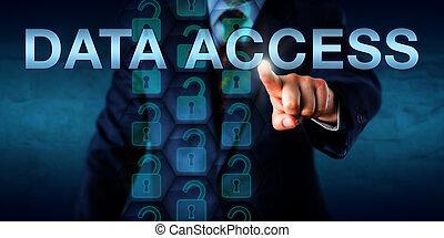 amministratore, dati, spinta, accesso, onscreen