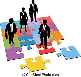amministrazione, persone affari, puzzle, soluzione, risorse