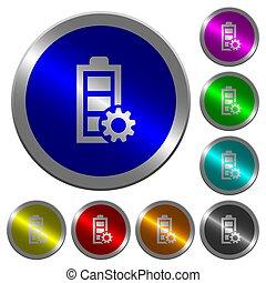 amministrazione, potere, colorare, bottoni, coin-like, luminoso, rotondo
