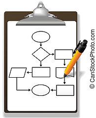 amministrazione, processo, penna, appunti, diagramma flusso, disegno