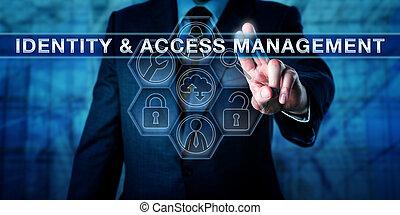 amministrazione, &, spinta, accesso, direttore, identità