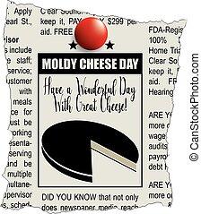 ammuffito, formaggio, giornale, giorno