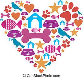amore, animali domestici, collezione, icona