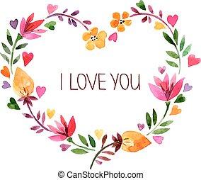 amore, bouquet., acquarello, vect, floreale, giorno valentino, scheda