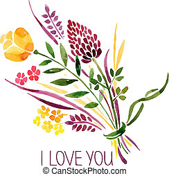 amore, bouquet., illustrazione, acquarello, vettore, floreale, scheda