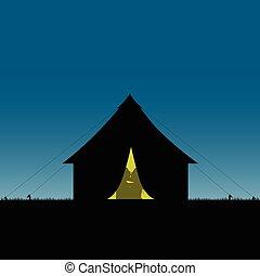 amore, campeggio, natura, coppia, illustrazione, silhouette