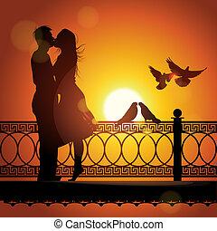 amore, coppia, silhouette, tramonto, baciare