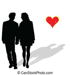 amore, coppia, vettore, silhouette, illustrazione