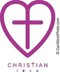 amore, cristiano, cuore, dio, croce, creativo, vettore, disegno, combinato, concettuale, logotipo, simbolo.