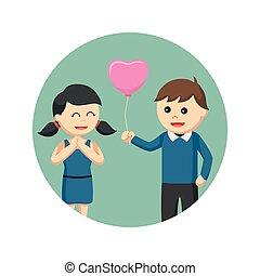 amore, dare, balloon, fondo, cerchio, ragazza, uomo