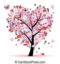 amore, foglia, albero, cuori, valentina