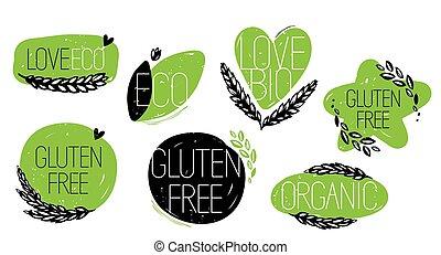 amore, gluten, icone, eco, organico, bio, libero