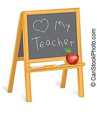 amore, insegnante, cavalletto, mio, lavagna
