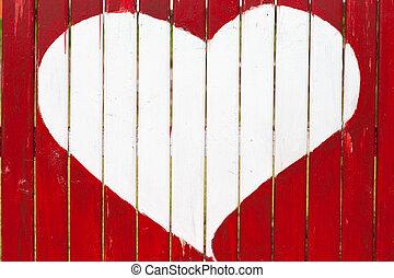amore, legno, simbolo, parete, vecchio, disegno