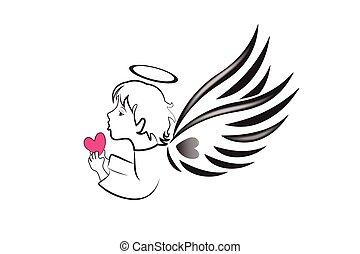 amore, logotipo, cuore, angelo