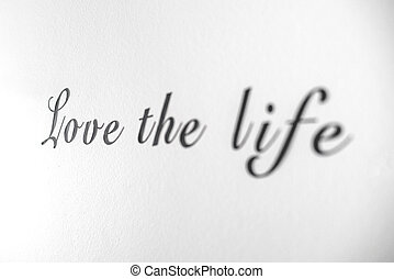 amore, luminoso, vita, parete, frase, parola, bianco