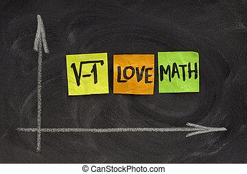 amore, matematica, lavagna, -, concetto