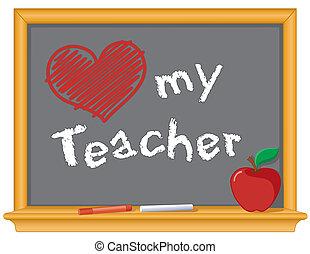 amore, mio, insegnante, lavagna