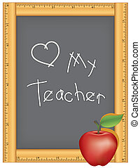 amore, mio, insegnante, righello, lavagna