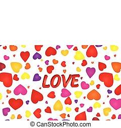 amore, parola, illustrazione, valentina, vettore, fondo, cuori, 3d
