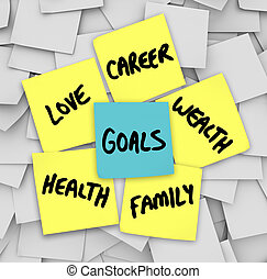 amore, ricchezza, carriera, note, appiccicoso, salute, mete