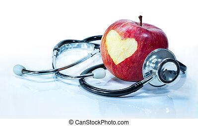 amore, -, salute, mela, concetto