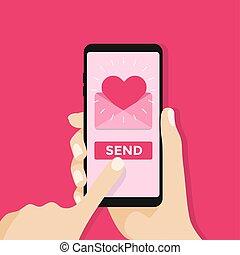 amore, sms, mobile, mandare, telefono., lettera, email