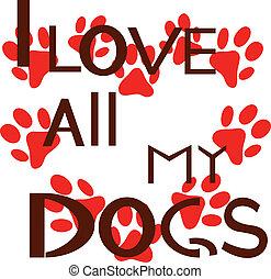 amore, tutto, cani, mio