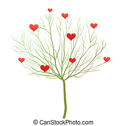 amore, valentina, albero, vettore, disegno, giorno