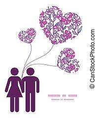 amore, vibrante, coppia, augurio, campo, silhouette, vettore, sagoma, invito, modello, fiori, cornice, scheda