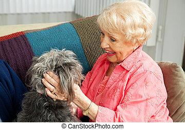 amori, cane, anziano, lei, signora