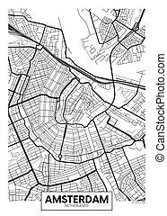amsterdam, vettore, mappa urbana, manifesto